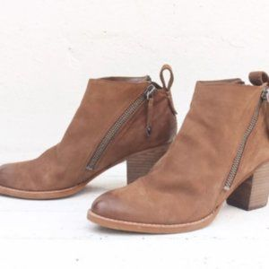 Dolce Vita Brown Double Zip Heeled Ankle Booties